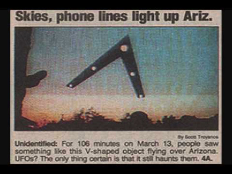 The Phoenix Lights UFO Phenomenon Newspaper Article